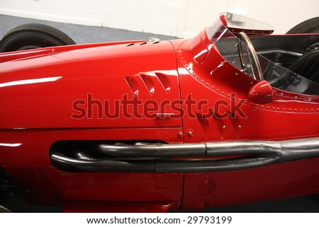 Vintage sport car detail showing cockpit - stock photo