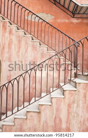 Vintage stair from old building - stock photo