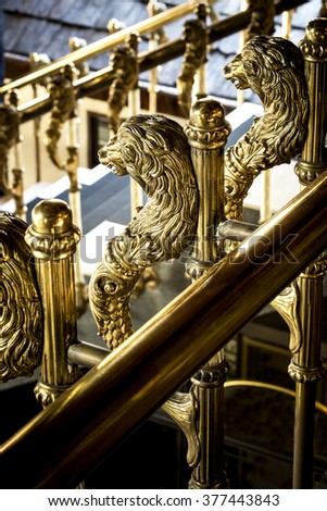 Vintage stairway in the building - stock photo