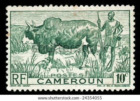 vintage stamp from Cameroon depicting tribal farmer with his cow - stock photo