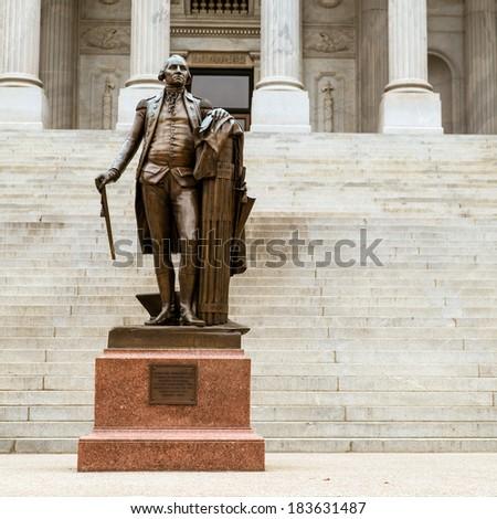 Vintage statue of Georgia Washington at South Carolina Statehouse - stock photo