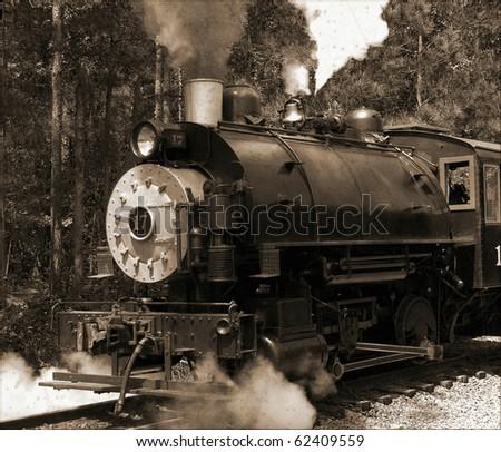 Vintage steam engine - stock photo