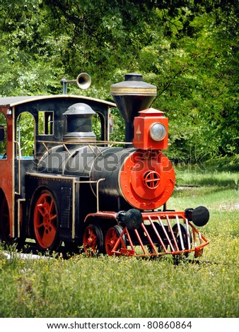 vintage steam locomotive in green nature - stock photo