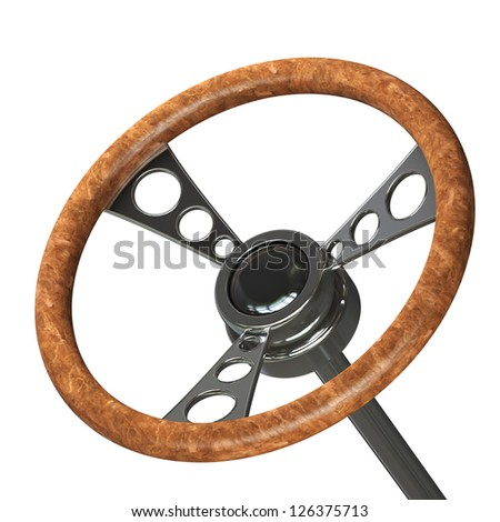 vintage steering wheel Isolated on white background. High resolution 3d render - stock photo