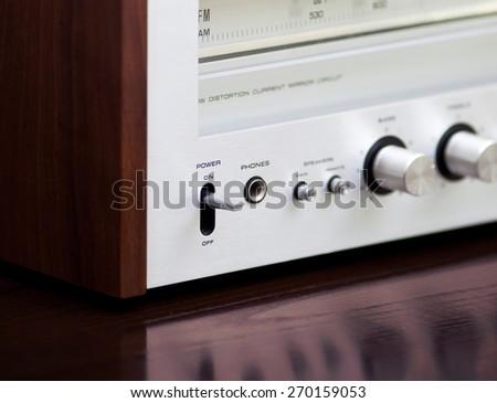 Vintage Stereo Radio Receiver Power Switch - stock photo