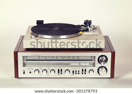 Vintage Stereo Radio Receiver with Record Player Turntable Set - stock photo