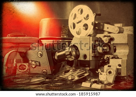 Vintage still-life. Old camera - stock photo