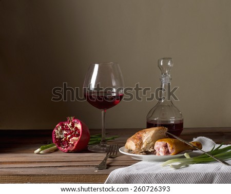 vintage still life with wine and meat - stock photo