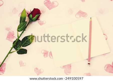 Vintage story in love,Write a love story down in your notebook - stock photo