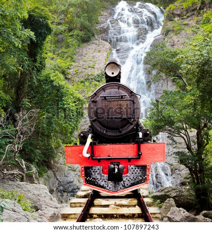 vintage stream power railroad back panel over fall and mountain - stock photo