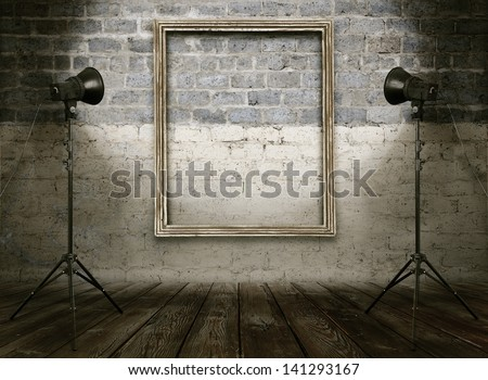 vintage studio room, background with retro photo frame - stock photo