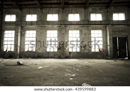 Vintage style - Abandoned metallurgical factory interior and building waiting for a demolition. - stock photo