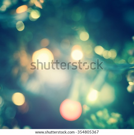 Vintage style. Abstract blur lighting decoration on Christmas tree. Backdrop Texture Night Nativity Scene Sing Song 2016 2017 twenty sixteen Candlemas Theravada Earth Hour Eve Light Xmas Shiny concept - stock photo