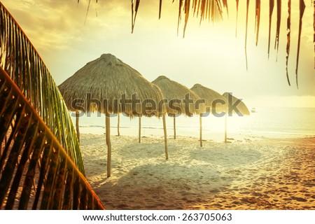 Vintage style beach scene - stock photo
