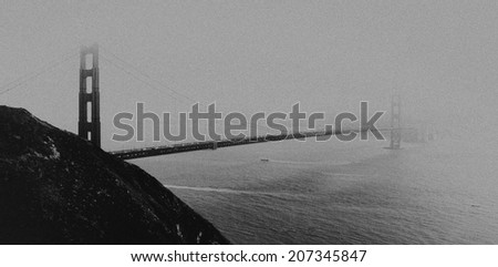 Vintage style black and white image of the Golden Gate Bridge, San Francisco, California, USA. - stock photo