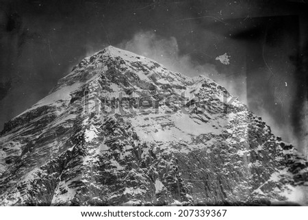 Vintage style black and white world's highest mountain, Mt Everest (8850m) in the Himalayas, Nepal. - stock photo