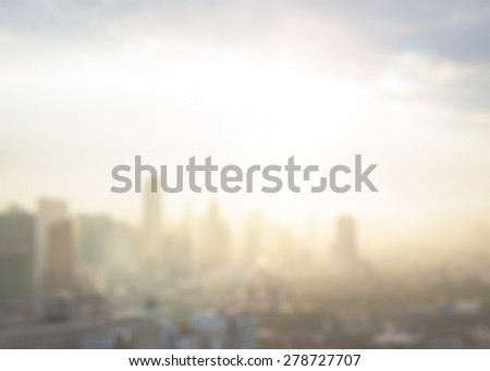 Vintage style. Blurred warm sunrise over city background with circle light. blur background concept. - stock photo
