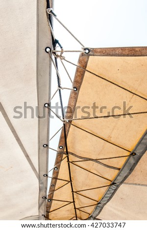 Vintage style canvas awnings. - stock photo