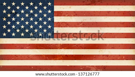 Vintage style flag of the United States of America. Grunge Elements give it an used and dirty feeling. Hoist (width) / Fly (length) of the flag = 1 to 1.9 Vector available.  - stock photo