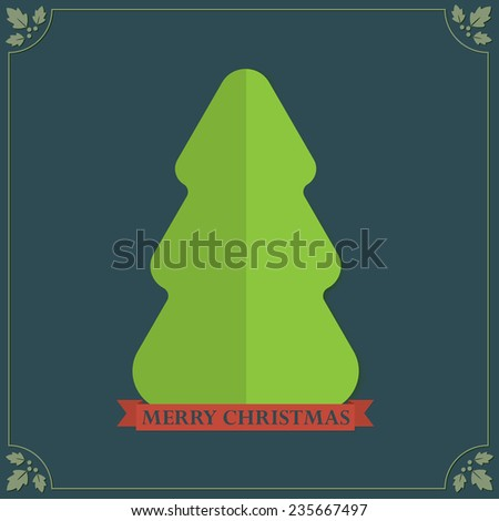 Vintage style folded paper texture Christmas tree holidays greetings  - stock photo