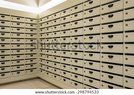 Vintage style house mailbox lots Inside residential buildings. - stock photo