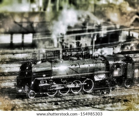 vintage-style illustration of a steam engine train (141R 1244 Mikado locomotive) passing through a railway station, referring to concepts such as transport, retro vehicles, past century, and mechanics - stock photo