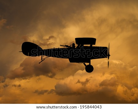 Vintage style image of a British World War One fighter aircraft. (Artist impression) - stock photo