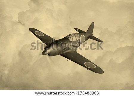 Vintage Style image of a World War 2 Japanese fighter knick-named 'Raiden' - stock photo