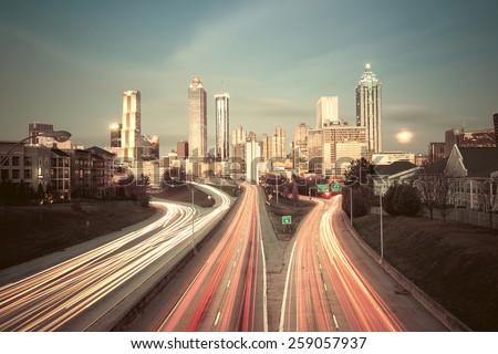Vintage style image of Atlanta skyline, Georgia, USA - stock photo