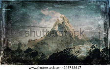 Vintage style image of Mt. Ama Dablam in the Everest Region of the Himalayas, Nepal. - stock photo