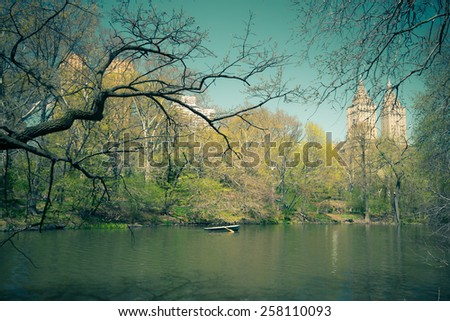 Vintage style image of pond at Central Park in New York City - stock photo