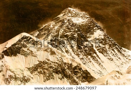Vintage style image of the world's highest mountain, Mt Everest (8850m) in the Himalayas, Nepal. - stock photo