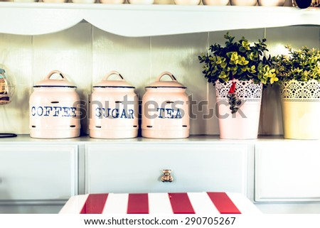 Vintage style. Jar and Pot in the kitchen. - stock photo