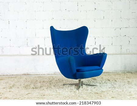 vintage style of interior decoration the  chair and concrete wall. - stock photo