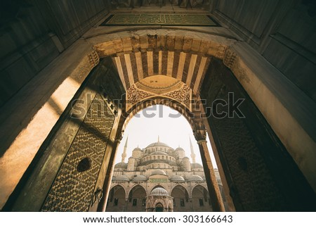 Vintage style of Sultan Ahmed Mosque (Blue Mosque) , Istanbul, Turkey - stock photo
