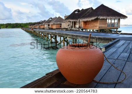 Vintage style of the beautiful Gili Lankanfushi in the Maldives - stock photo