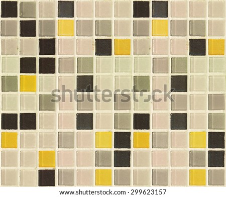 Vintage style. Old square tile texture of wall and floor, tile interior of bathroom, pool, kitchen. World Toilet Day concept. - stock photo