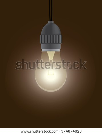 Vintage style one dazzling light bulb. - stock photo