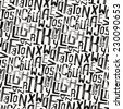 Vintage style pattern, uneven grunge letters of random size - stock photo