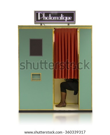 Vintage style photo booth vending machine on a white background with clipping path - stock photo