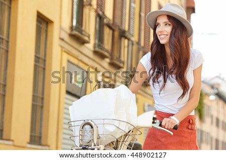 Vintage style photo of a summer woman in Italy vacations - stock photo