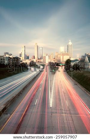 Vintage style photo of Atlanta skyline, Georgia, USA - stock photo
