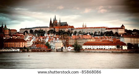 Vintage style photo of old Prague, Czech Republic - stock photo