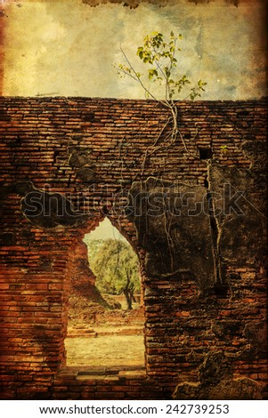 vintage style picture of a detail at Wat Phra Si Sanphet, the ruin of the former royal temple on the ground of the royal palace in Ayutthaya, Thailand - stock photo