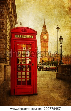 vintage style picture of a red phone box in London with the Big Ben in the background - stock photo