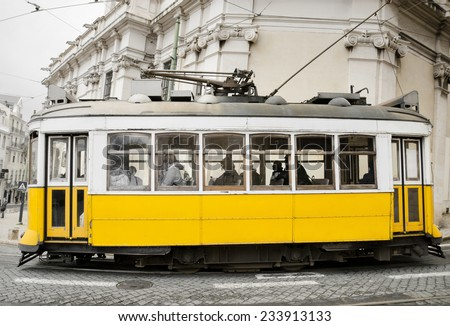 Vintage style picture of an old tram - stock photo
