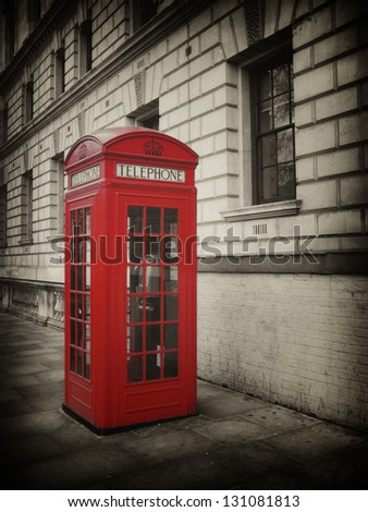 Vintage Style picture of Telephone Box in London - stock photo