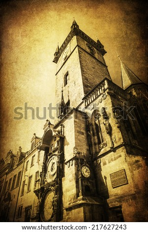 vintage style picture of the historical Old Town City Hall Tower in Prague, Czechia - stock photo