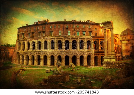 vintage style picture of the Marcellus Theatre in Rome, Italy - stock photo