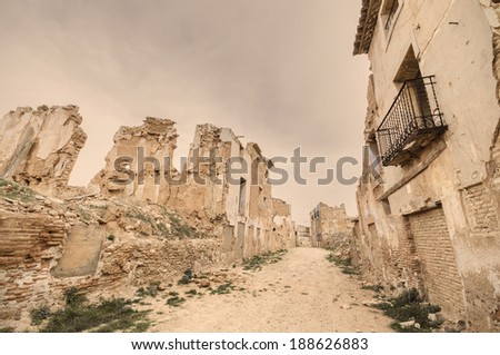 Vintage style picture of the ruined town of Belchite. Was destroyed during the Spanish civil war, in Saragossa, Spain. - stock photo